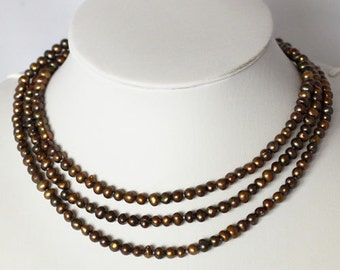Pearl Necklace - 48 inches-5-6mm, Dark Brown Freshwater Pearl Necklace- Free shipping