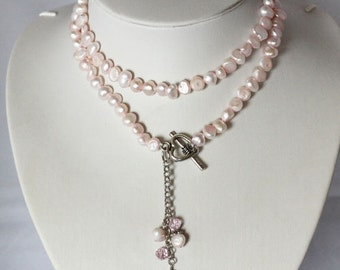 Pearl Necklace - 28 inches-7-8mm, Pink Freshwater Pearl Necklace- Free shipping