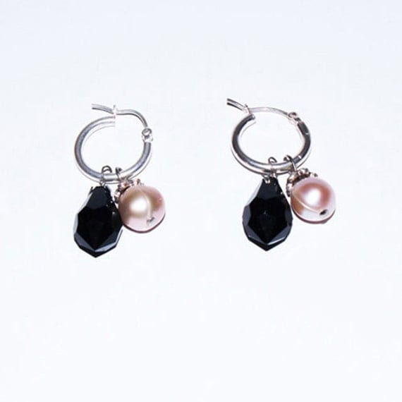 Earring, Black crystal with Pink pearl, 925 sliver ring- FREE SHIPPING