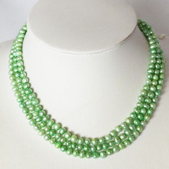 Pearl Necklace - 48 inches-5-6mm, Light Green Freshwater Pearl Necklace- Free shipping