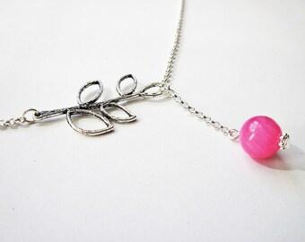 Lariat Necklace, Leaf Necklace, Beaded Lariat Necklace, Pink Jade Lariat Necklace, Hot Pink Necklace, Hot Pink Bead, Branch Necklace, Silver