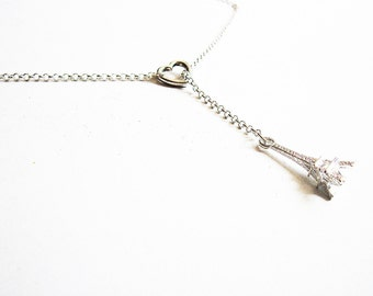 Paris Eiffel Tower Necklace, Heart Necklace, Silver Lariat, Love Gift, Y Necklace, Romantic Paris Jewelry, Love Paris Necklace