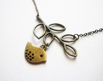 Necklace Leaf Bird, Bird branch Necklace, Lovebird Necklace, Love bird Necklace, Bird on a branch Necklace, bird jewelry, bird necklace