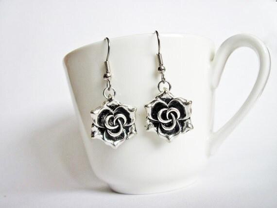 Rose silver earrings, Dangle metal flower earrings, Floral jewelry, handmade earrings, valentines day gift, girlfriend earrings anniversary