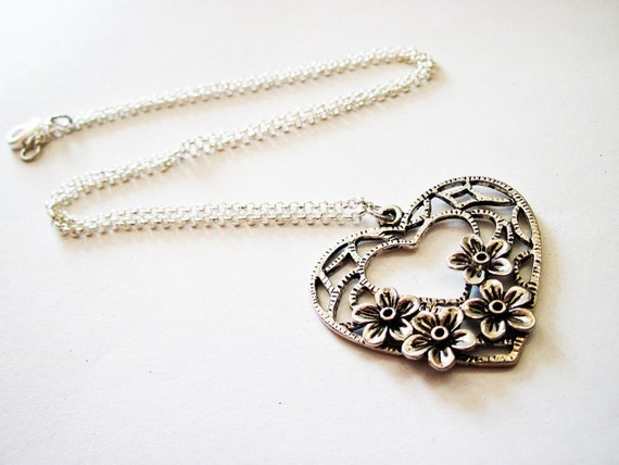 Heart necklace, silver open heart necklace, floral heart necklace, flowers heart necklace, lovely pendant necklace