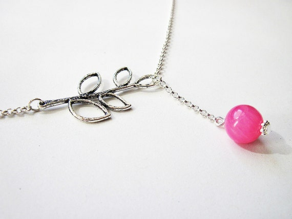 Lariat Necklace, Leaf Necklace, Beaded Lariat Necklace, Pink Jade Lariat Necklace, Hot Pink Necklace, Hot Pink Bead, Branch Necklace, Silver