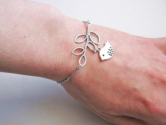 Bird on a branch Bracelet, Bird Jewelry, Bird Charm Bracelet, Custom Bracelet, Simple Bracelet, Lovebird Bracelet, Love Bird Bracelet