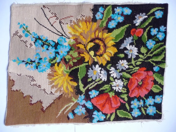 Vintage Embroidery Worked Tapestry Canvas