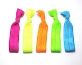 Set of 5 - AS SEEN IN Spring Fashion Week - Neon Trend 2012 - Elastic Hair Ties