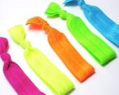 AS SEEN IN Spring Fashion Week - Set of 10 - Neon Trend 2012 - Elastic Hair Ties