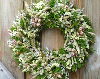 Green And White Dried Flower Wreath