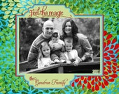 Feel the Magic of Christmas Floral Christmas Card, Costco template