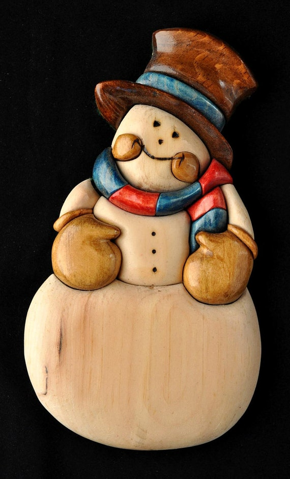 Wood Intarsia Christmas Snowman Decoration