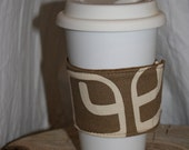 Reversible Coffee Sleeve, eco friendly, one of a kind, hand made, upcycled, repurposed. Starbucks