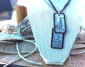 Personalized Dog Tags, Hand Stamped, Leather and Aged Steel on Ball Chain