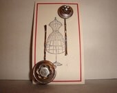 Set of 2 vintage button bobby pins/hair pins