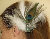 Peacock Accent & White Feather Fascinator - Bridal Hair Accessory