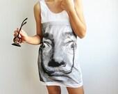 SALVADOR DALI Moustache Artist Design White Tank Top Women Tunic Tops Shirt Vest Womens Sleeveless Singlet T-Shirt Size S