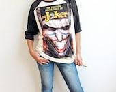 The Joker Classic Movie Comics Art Screen Printed Baseball Raglan T Shirt Long Sleeve Shirts Size M