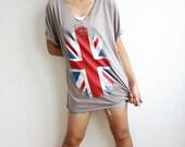 UK British England Union Jack Flag V Neck T Shirt Size L