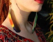 Amazon Parrot Feather Earrings with Carved Bone Beads