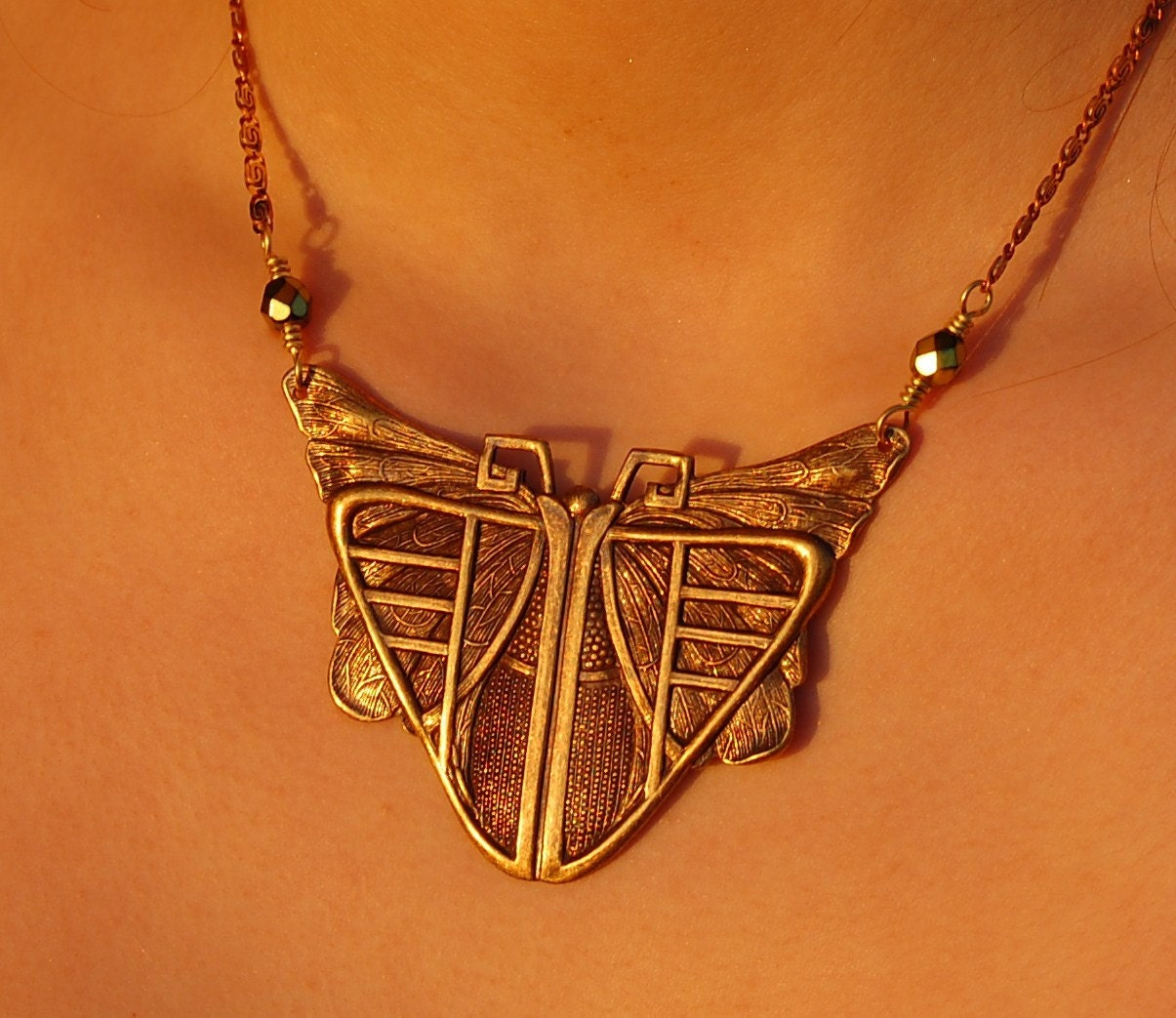 Art Deco Moth Necklace Butterfly Scarab Great Gatsby Roaring