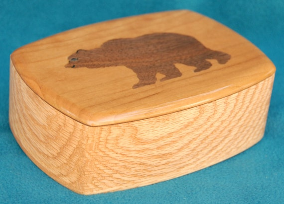 "Wood Keepsake or Jewelry Box with Handmade, Wooden Inlay - Grizzly Bear - 7"" X 5"" X 2 1/4"" high"