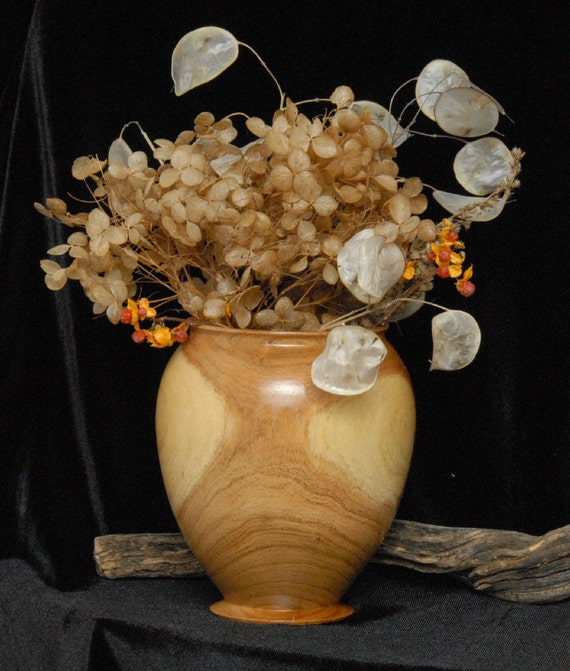 "Wooden Vase for Silk or Dried Flower Arrangements - 4.5"" tall X 4"" diameter"
