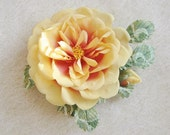 Yellow rose brooch, large silk rose,  rose flower broach