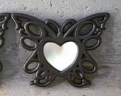 Vintage Butterfly Wall Mirrors Painted Black Set of 2