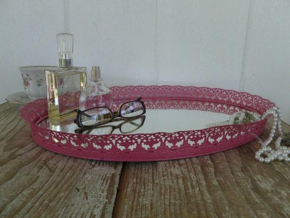 Large Pink Vanity Mirror Tray