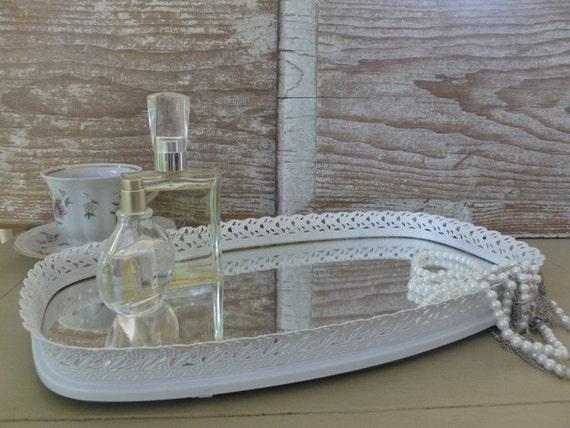 White Vanity Mirror Tray