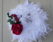 Feather Wreath White with Roses or other decorations