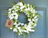 RESERVED Tulip Wreath in White and LARGE candy corn Halloween Wreath with PURPLE bow