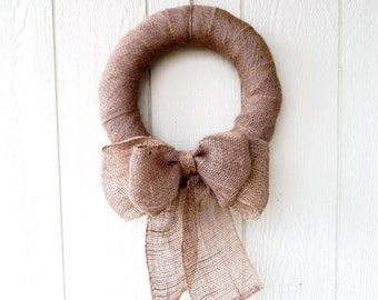 Burlap Wreath with Large Double Bow - Rustic Decor