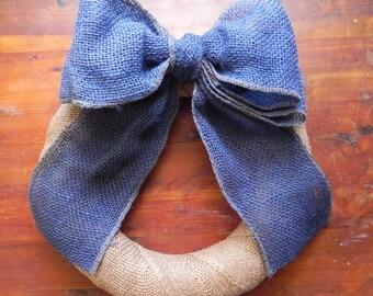 Blue Burlap Bow Curtain Tie Back Wreath Addition