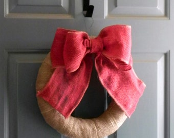 Red Burlap Bow Curtain Tie Back Wreath Decoration