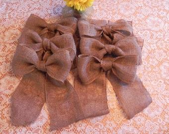 Burlap Bow SET OF 6 Wedding Decoration Curtain Tie Wreath Decoration