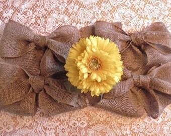 Burlap Bow SET OF 4 Wedding Decoration Curtain Tie Wreath Decoration