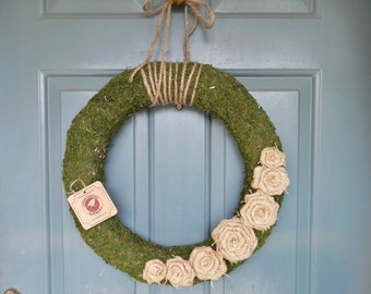 French Country Moss Wreath with Burlap Rosettes and Jute - 18'' (other sizes available)