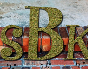 Moss Letters Monogram Wedding Decoration (all sizes and TONS of fonts available) - 3 piece set