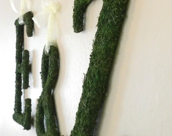 Moss Letters - Rustic Wedding- SET OF 3 pieces -Moss Monogram (Other Sizes available) A - Z