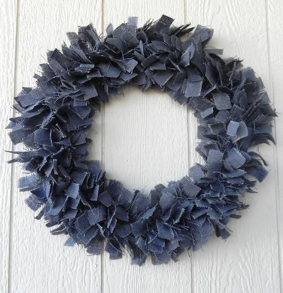 Blue  Burlap Wreath  rustic shabby chic