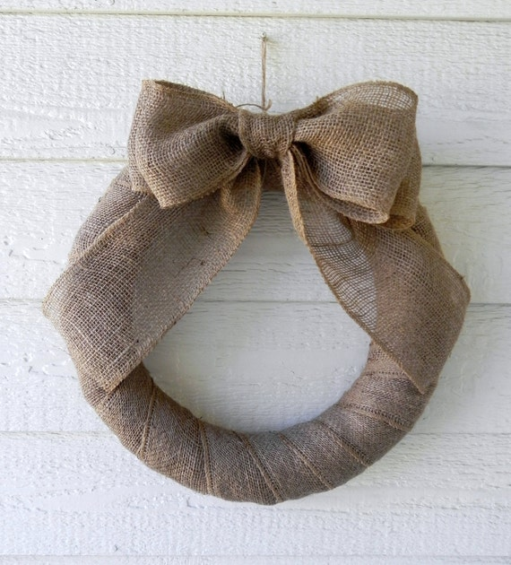 Burlap Wreath Natural with Large Double Bow  18 inch Elegant and Simple
