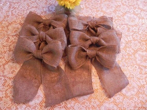 Burlap Bow SET OF 6 Wedding Decoration Curtain Tie Wreath Decoration