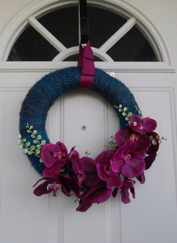 SALE Yarn Wreath - Rustic Wedding Wreath- 14 inch - Amazing Purple Orchids