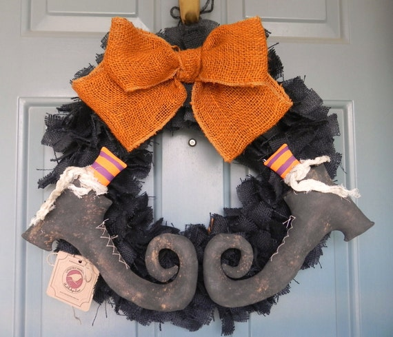 Burlap Halloween Wreath with Primitive Witch Boots PAIR - (customize the stocking colors)Swamp Water Line