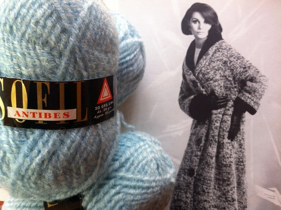4 Vintage Yarn Skeins in a Light Blue Wool, Mohair, & Acrylic Blend by Sofil
