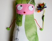 Fabric doll made by hand: Hopeful dolly, multicolor cotton fabric