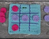 Blue Tic Tac Toe Crochet Quiet Travel Game